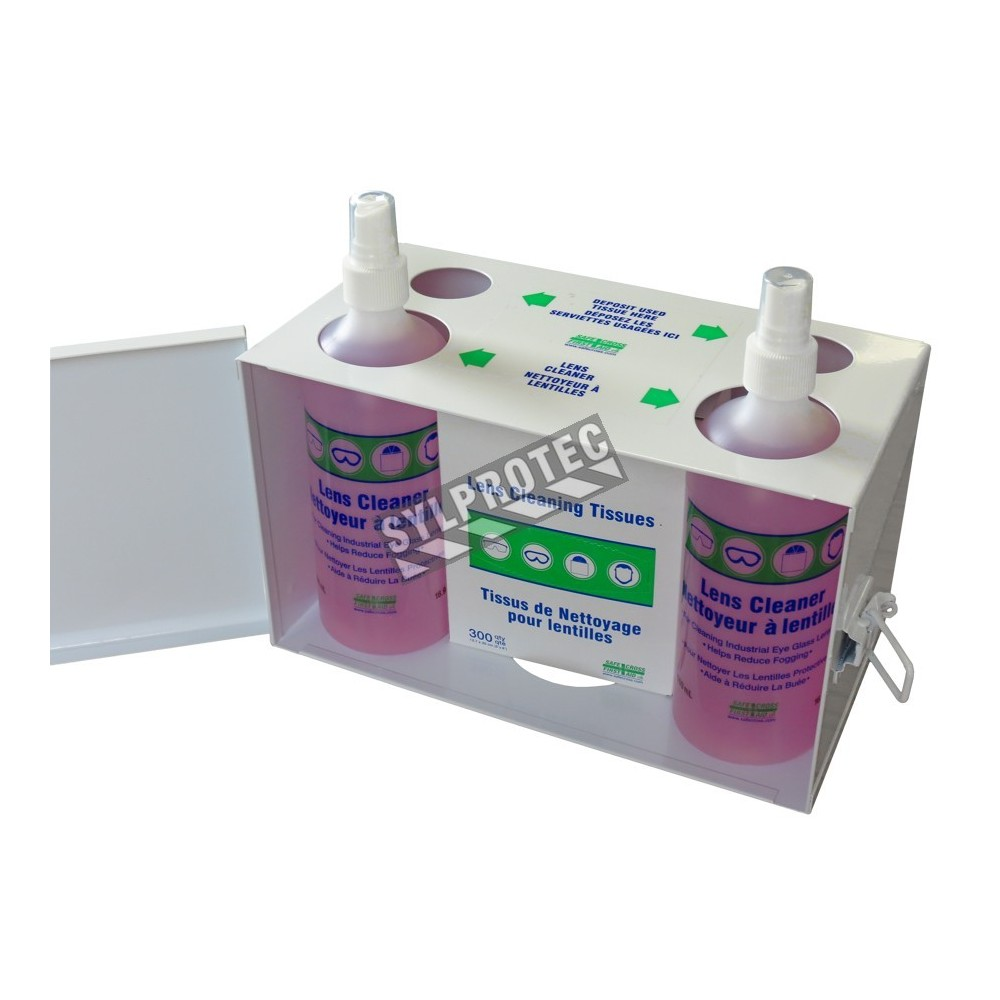 lens cleaning station with cleaning tissues and lens solution