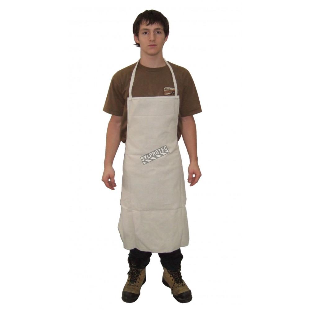 White denim apron - Bib Apron White Denim 36