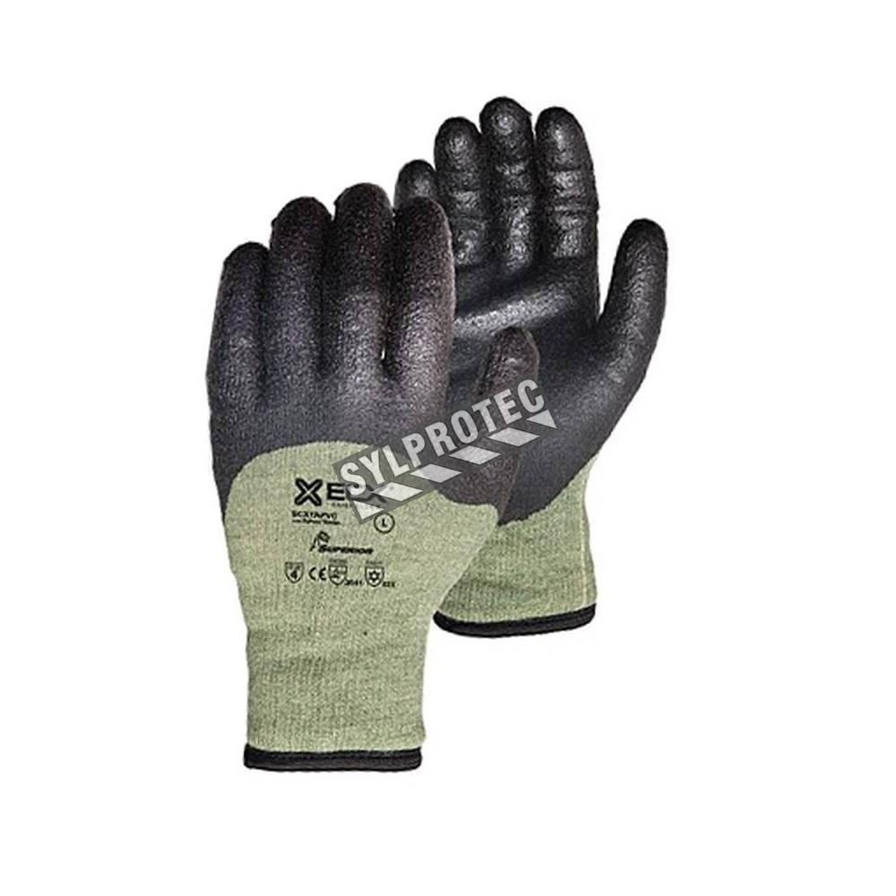 Gant d hiver anti coupure en tricot kevlar fil d 39 acier enduit de pvc - Gant anti coupure ...