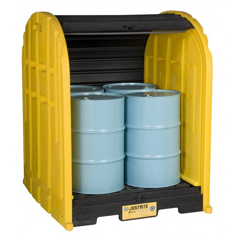 Justrite drum shed with roll top doors for drums