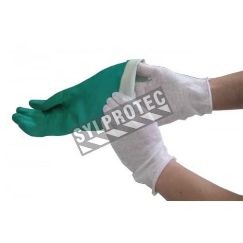 Gants d'inspection en coton mince, couleur blanche, grandeur pour hommes.