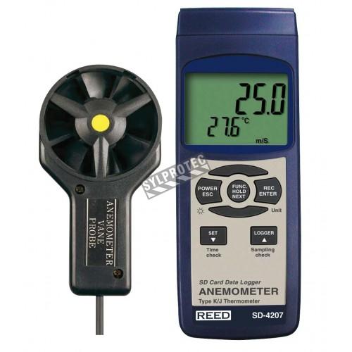 Thermo-anémomètre, enregistreur de données.