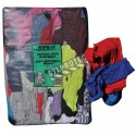 Cotton wiping rags made of scrap fabric in mixed colors. 10 lbs bag.
