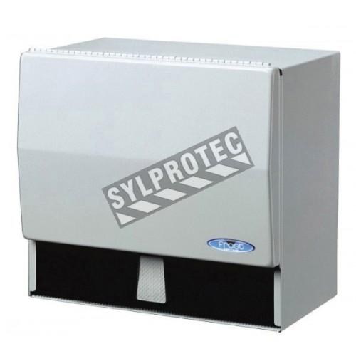 Distributeur à papier universel en métal avec barre de coupe pour rouleaux standard et papier plié en pli simple.
