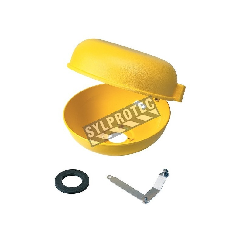 Bol et couvercle pare-poussière en plastique jaune ABS, avec pièces, pour toutes les douches oculaires et faciales Bradley.