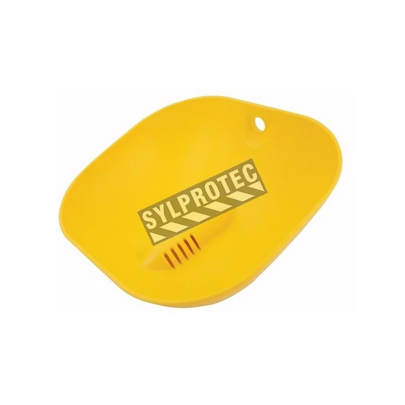 Cuvette de rechange en plastique jaune ABS pour douches oculaires ou faciales Halo par Bradley.