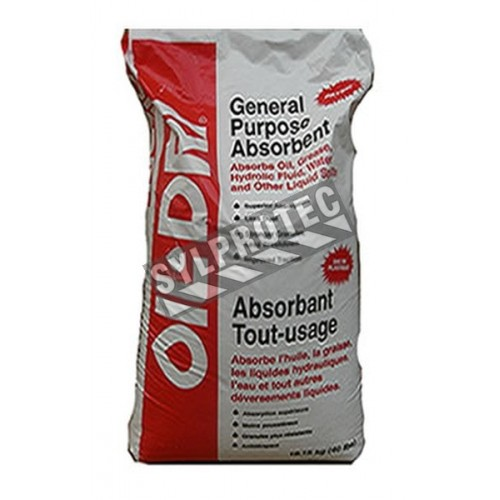 General purposes granulated absorbent. 18 KG bag. Absorb oil, solutions aqueous and cooling liquids.