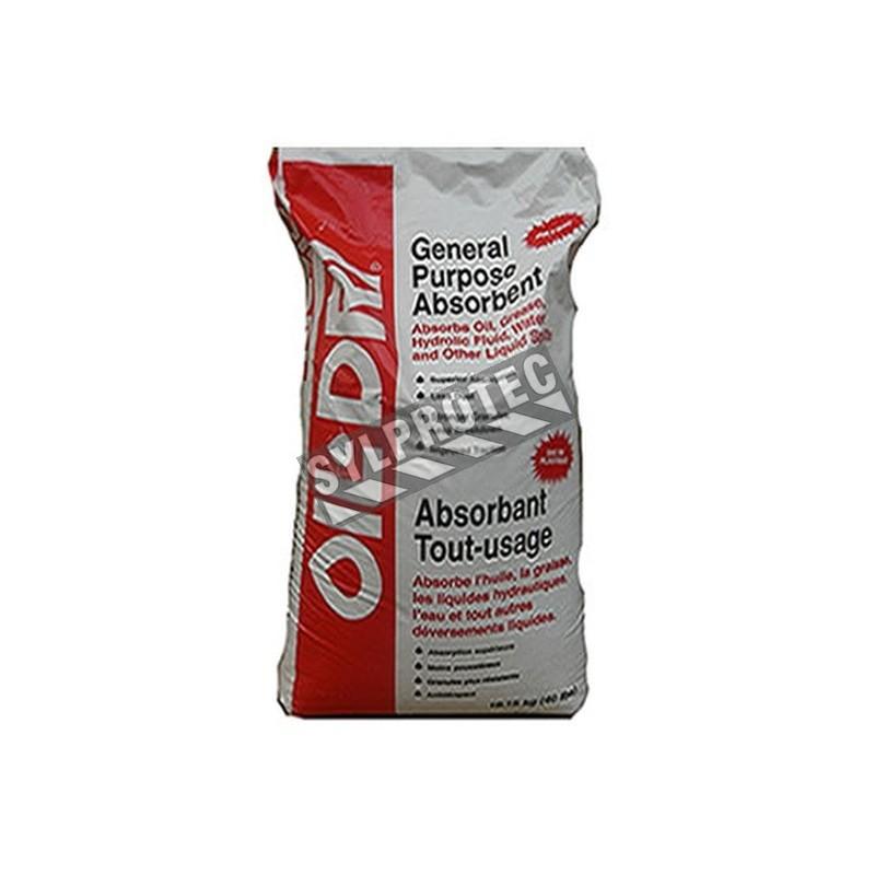 Granules absorbantes Oil-Dri tout-usage, sac de 40 lbs (18 kg) pouvant absorber jusqu'à 4.5 gallons (13 litres).