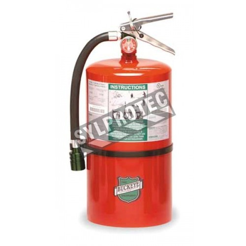 Halotron I portable fire extinguisher, 11 lbs, class ABC, ULC 1-A:10B:C, with wall hook.
