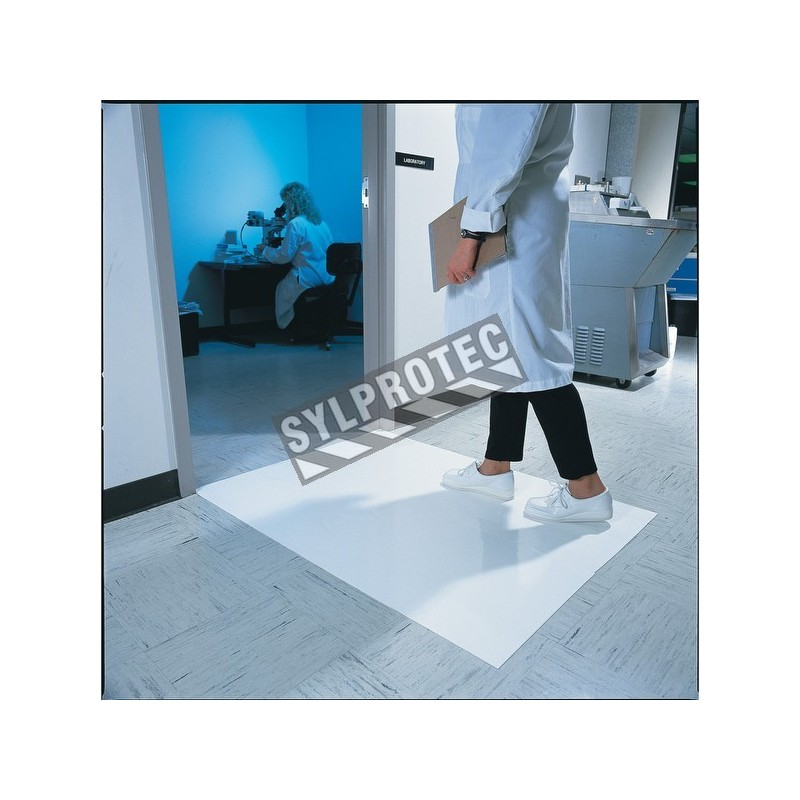 """White tacky mat with 120 polyethylene disposable tacky sheets. Cleans shoe soles. 18""""x 45"""". 4 x 30 sheets."""