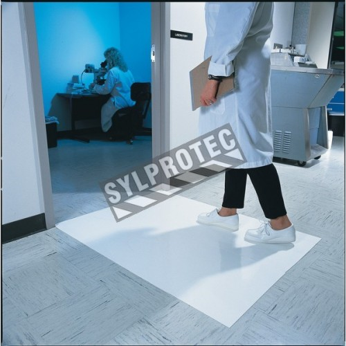 """White tacky mat with 120 polyethylene disposable tacky sheets. Cleans shoe soles. 24""""x 45"""". 4 x 30 sheets."""