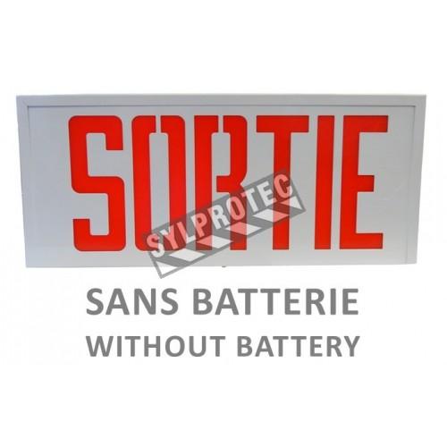 Enseigne «Sortie» 120V sans batterie, approuvée CSA. Boîtier en acier, face simple ou double.