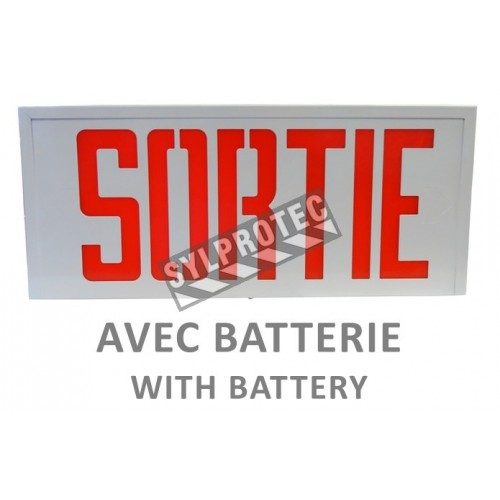 "Emergency exit sign in French (""Sortie""), 120V with battery, certified CSA. Steel casing, simple or double face."