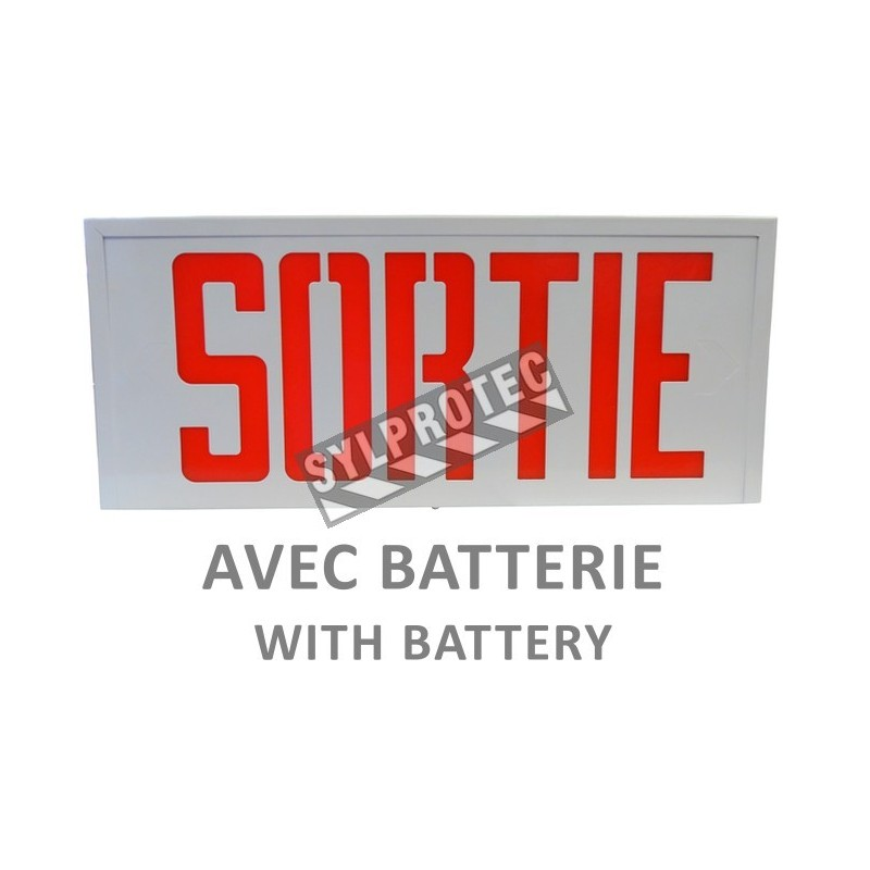 """Emergency exit sign in French (""""Sortie""""), 120V with battery, certified CSA. Steel casing, simple or double face."""