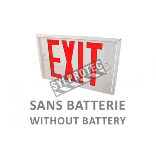 "Emergency ""Exit"" sign in English, 120V without battery, certified CSA. Steel casing, simple or double face."
