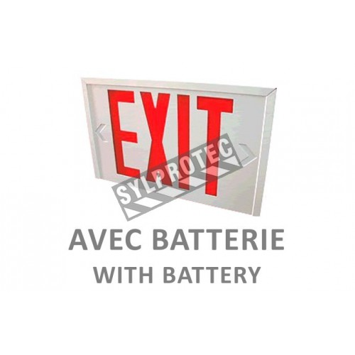 "Emergency ""Exit"" sign in English, 120V with battery, certified CSA. Steel casing, simple or double face."