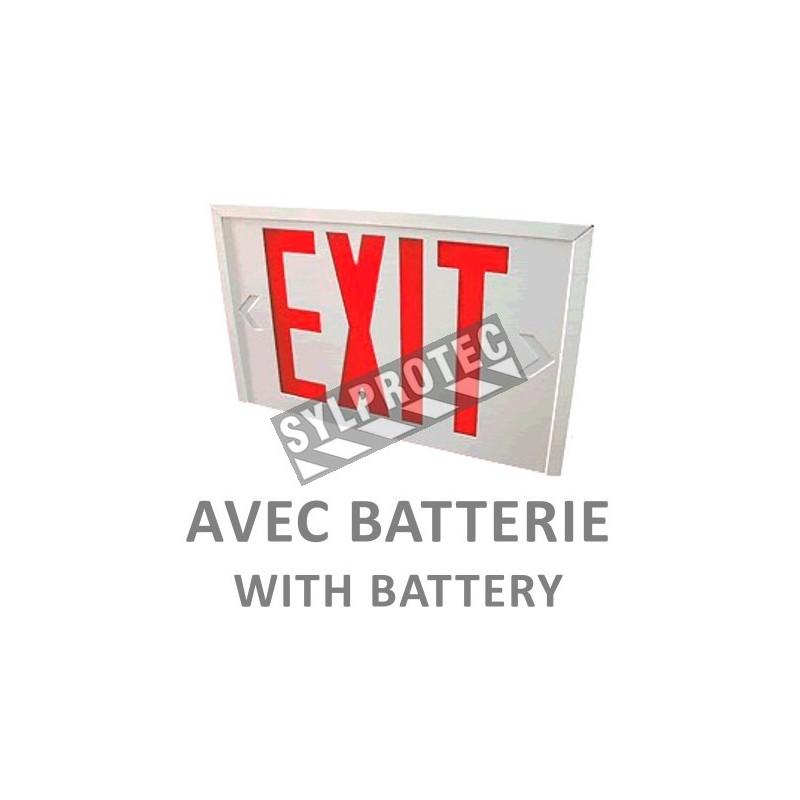 Enseigne en anglais «Exit» 120V avec batterie, approuvée CSA. Boîtier en acier, face simple ou double.
