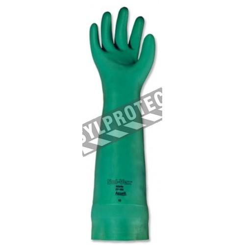 Long green nitrile gloves, resistant to chemicals, powder-free, 22 mils thick, size large (9).