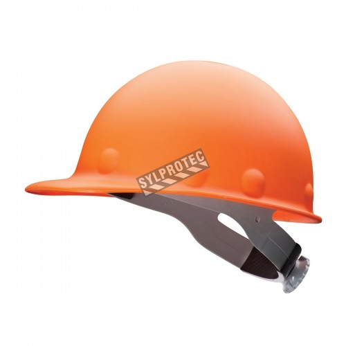 Orange Fibre-Metal cap style hard hat, high heat.