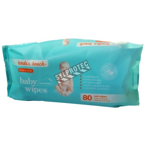 Lingettes nettoyantes Tender Touch pour hygiène personnelle, hypoallergéniques, sans parabènes et sans alcool.