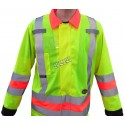 High-visibility coat for roadwork flaggers, compliant with new Transports Québec regulation.
