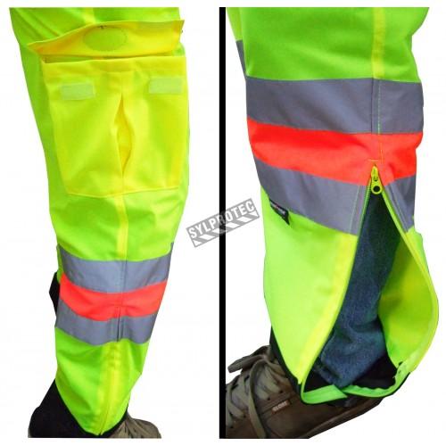Pantalon haute visibilité pour signaleur, conforme à la nouvelle norme de Transports Québec. Taille large (L).