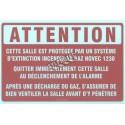 Affiche « Salle protégée au gaz Novec 1230» de langue française en vinyle autocollant
