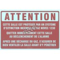 """French self-adhesive vinyl """"Novec 1230 Fluid Extinguishing System"""" emergency and fire safety sign"""