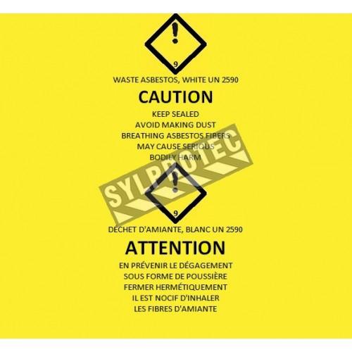"""Sacs jaunes bilingues pour déchets d'amiante. Pour le transport de déchets dangereux. 26""""x40"""", 100 sacs/rouleau."""
