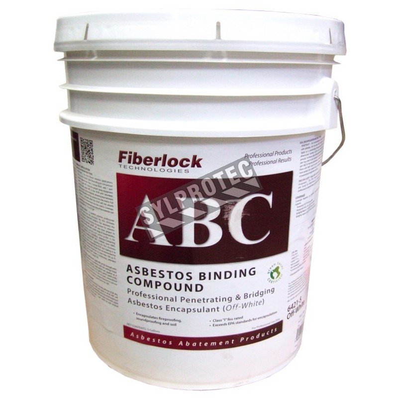 Agent d'encapsulation blanc, mouillant, lockdown, pour l'amiante Fiberlock ABC Asbestos Binding Compound, 20 L (5 gallons).