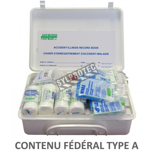 Type A federal first aid kit in plastic case (2 to 5 workers).