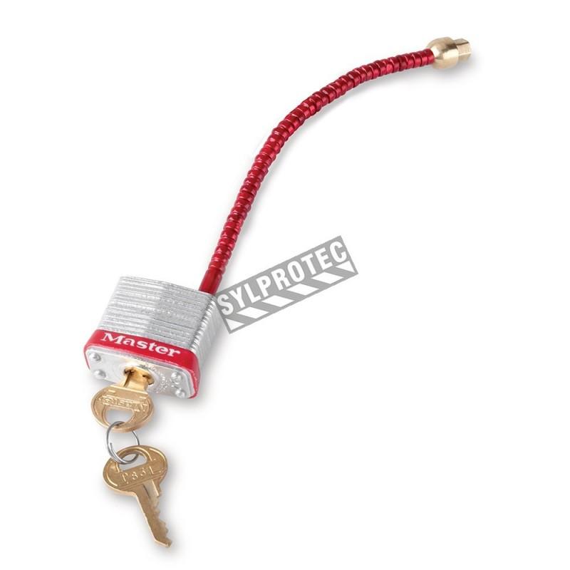 Cadenas pour disjoncteurs de surcharge avec câble en acier flexible comme arceau qui permet plus de facilité pour cadenasser.