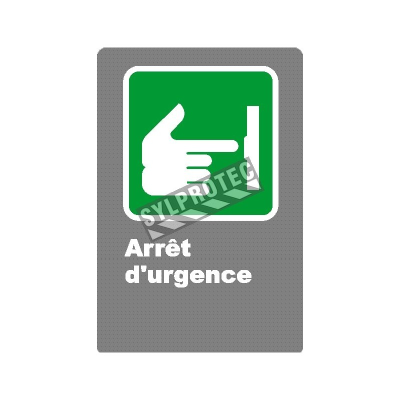 """French CSA """"Emergency Stop"""" sign in various sizes, shapes, materials & languages + optional features"""
