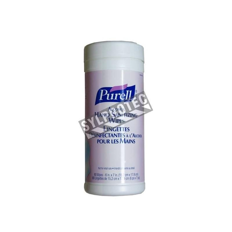 Lingette Purell désinfectante à l'alcool pour les mains, 80 lingettes