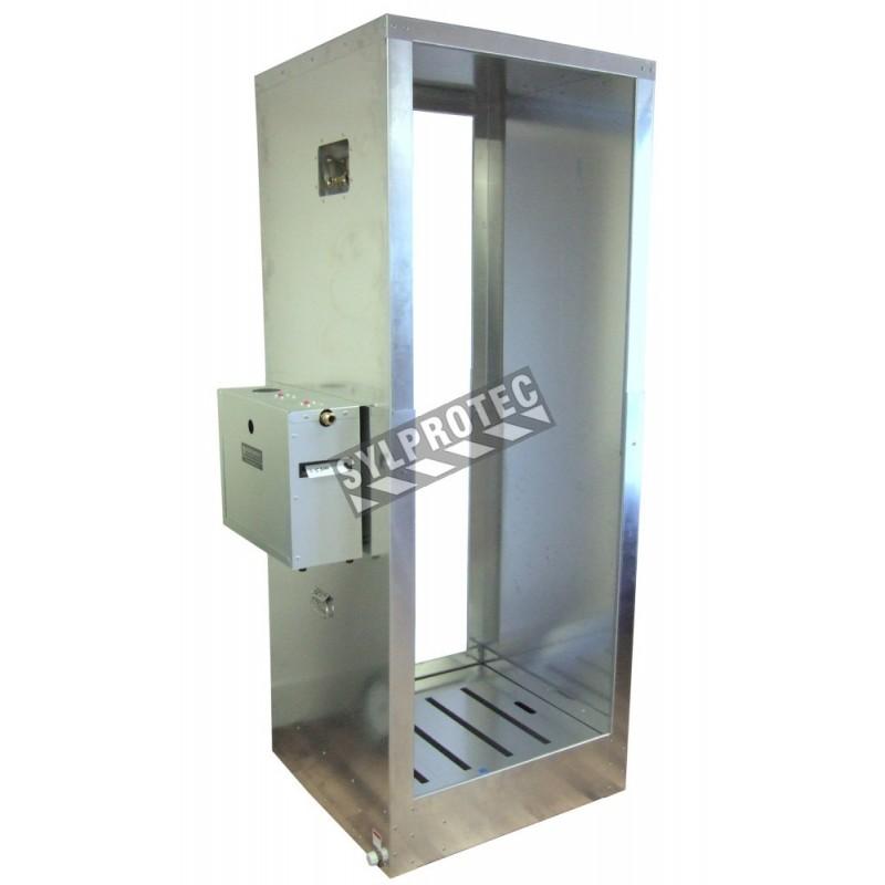 Portable aluminium decontamination shower for asbestos abatement workers (34 x 30 x 83 inches).