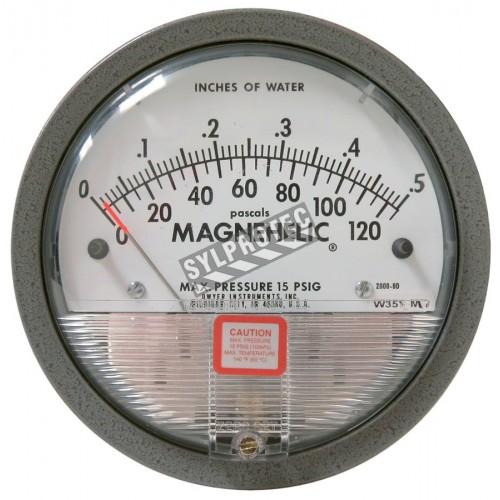 Manomètre Magnehelic à échelle de 0 à 0,5 pouces d'eau (0 à 120 Pa), pour mesurer la pression différentielle