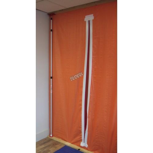 High density (670 denier) orange polyethylene rip-free tarp. Thickness: 3 mils. Ideal for asbestos abatement & decontamination.