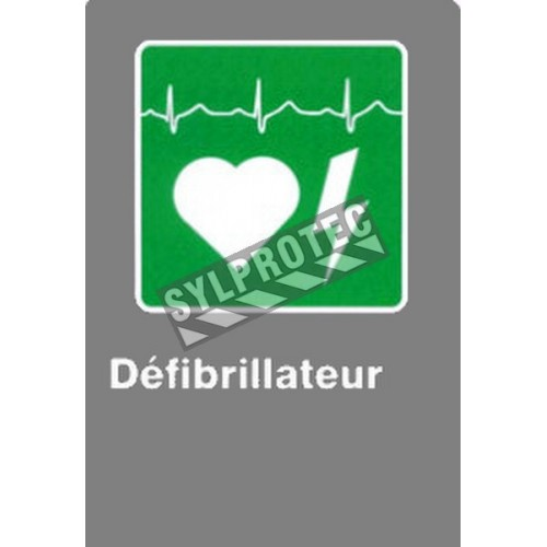 "French CSA ""Defibrillator"" sign in various sizes, shapes, materials & languages + optional features"