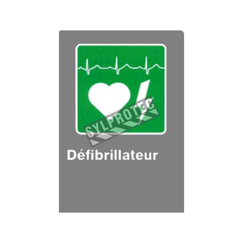 """French CSA """"Defibrillator"""" sign in various sizes, shapes, materials & languages + optional features"""