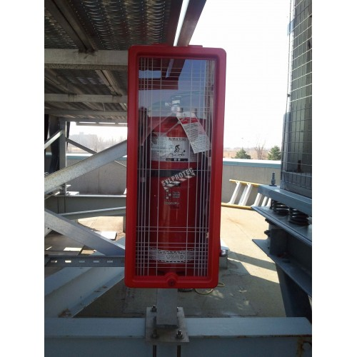 Surface-mounted outdoors plastic cabinet for 20 lbs extinguishers.