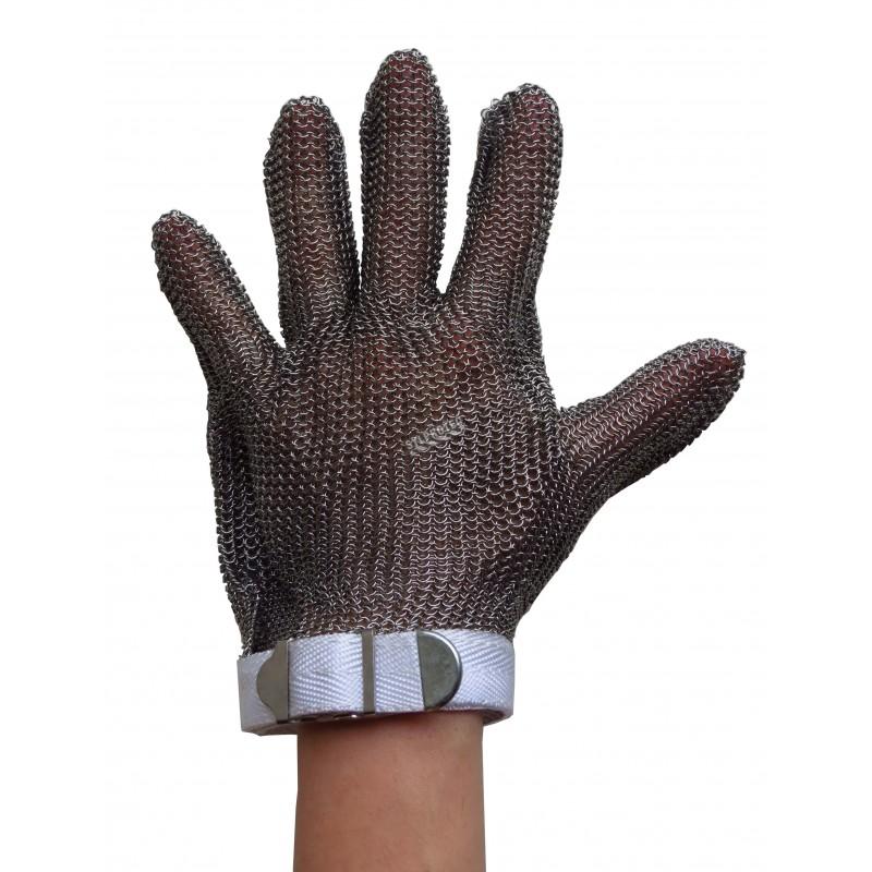 Gant anti-coupure A9 en mailles d'acier inoxydable. Certifié UL. Approuvé par la FDA pour la manipulation des aliments.
