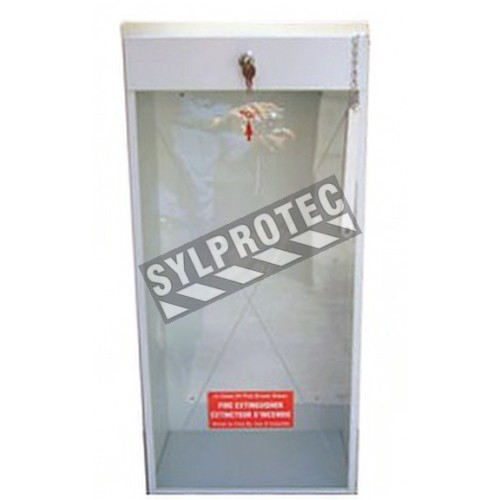Surface-mounted steel cabinet for 20 lbs or 2.5 gal extinguishers