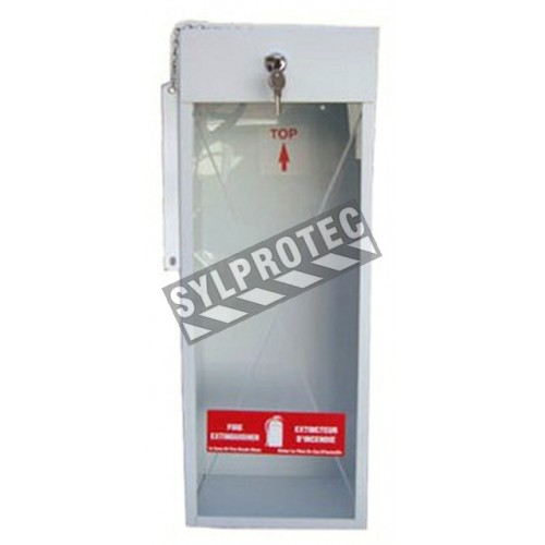 Surface-mounted steel cabinet for 5 lbs powder extinguishers.