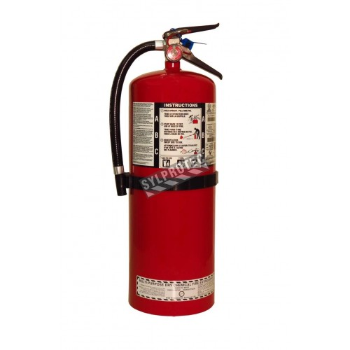 Portable fire extinguisher with powder, 20 lbs, type ABC, ULC 10A-120 BC, with wall hook.
