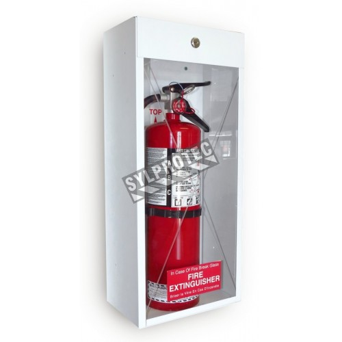 Surface-mounted steel cabinet for 10 lbs powder extinguishers