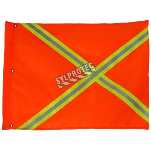 Drapeau de signalisation en nylon orange avec bandes jaunes et argentées, 18 x 26 po.