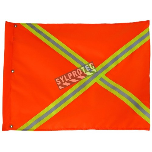 Orange nylon traffic flag with yellow and reflective stripes, 18 x 26 in.