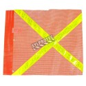 Drapeau en maille de nylon orange avec bandes jaunes réfléchissantes, 20 x 24 po.