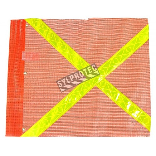 Drapeau de signalisation en maille de nylon orange avec bandes jaunes réfléchissantes, 20 x 24 po.