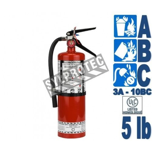 Portable fire extinguisher with powder, 5 lbs, type ABC, ULC 3A-40BC, with wall hook.